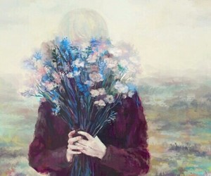 art, girls, and flowers image