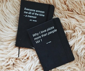 black, pizza, and book image