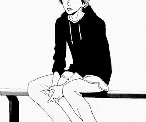 manga, anime boy, and black and white image
