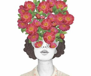 girl, indie flowers, and open eyes image