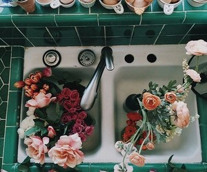 decor, flowers, and sink image