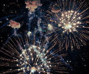 fireworks, night, and sky image