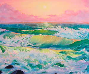 pink, green, and ocean image
