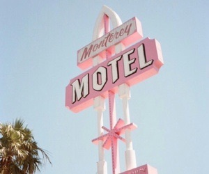 pink, motel, and sign image