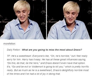 draco malfoy, harry potter, and interview image