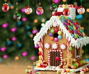 candy, christmas lights, and christmas ornaments image