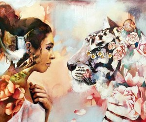 art, tiger, and painting image