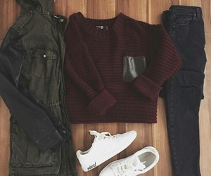 sweater, bluejeans, and anorak image