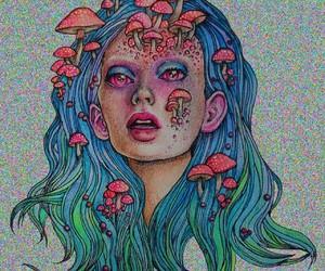 mushroom, trippy, and art image