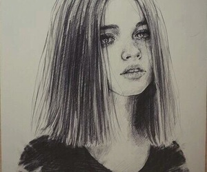 draw, black and white, and drawing image