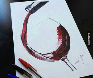 drawing, art, and wine image