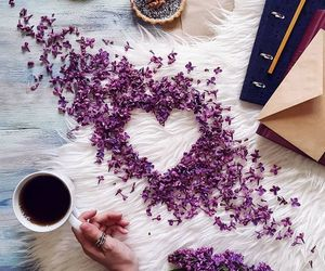 heart, coffee, and flowers image