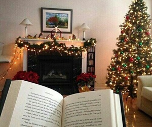 books, christmas tree, and fireplace image
