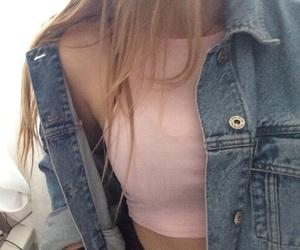 girl, pink, and jean image