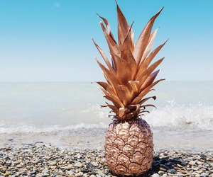 pineapple, beach, and gold image