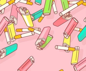 cigarette, pink, and wallpaper image