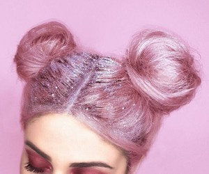 pink, hair, and glitter image