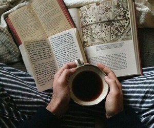 book, coffee, and tea image