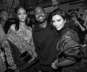 rihanna, kim kardashian, and kanye west image