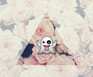 flowers, ghost, and emojis image