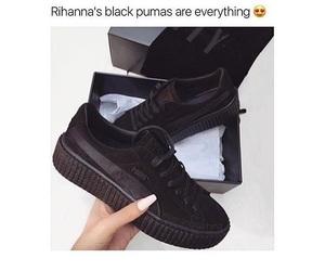 black, puma, and shoes image