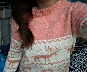 sweater, christmas, and pink image