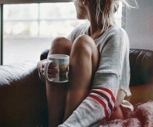 girl, coffee, and autumn image