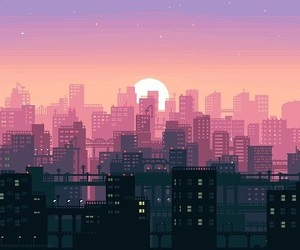 pixel, city, and gif image