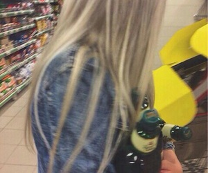 blonde, drink, and hair image
