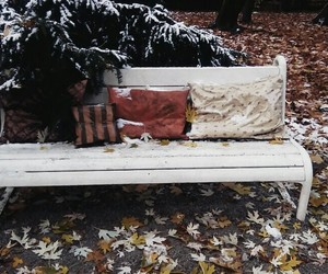 autumn, pillow, and snow image