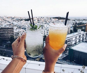 drink, friends, and city image
