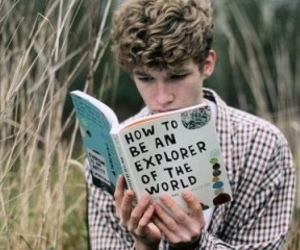 boy, book, and explorer image