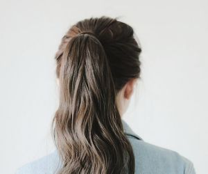 brunette, ponytail, and hair image