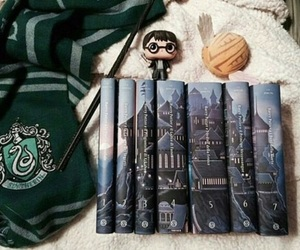book, harry potter, and slytherin image