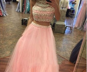 prom dress, prom dresses, and pink prom dress image