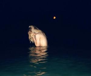 alone, moon, and sea image