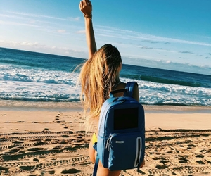 backpack, blonde, and beach image