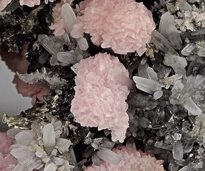 crystal, pink, and minerals image