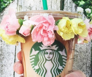 starbucks, flowers, and coffee image