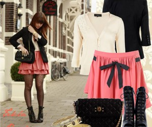 pink skirt and girl image