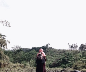 alone, hijab, and travel image