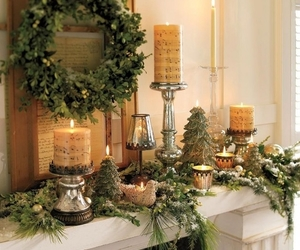 candles, mantel, and wreath image