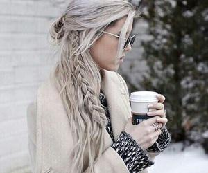 hair, braid, and coffee image