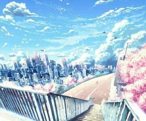 anime, sky, and sakura image