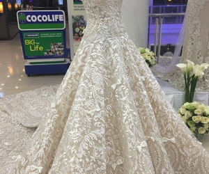gown, white, and weddingdress image