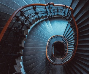 blue, stairs, and aesthetic image