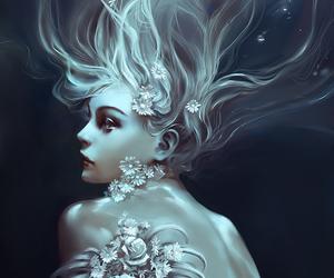 art, flowers, and mermaid image