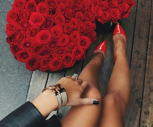 beautiful legs, romance, and roses image