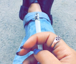 smoking, autumn, and cigarette image