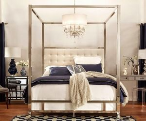 bed, bedroom, and canopy bed image